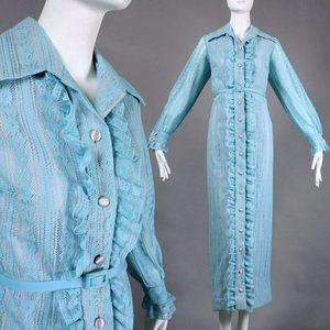L Vintage 60s Lace Maxi Cocktail Dress Hostess